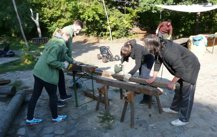 Team von Mitarbeitern bearbeiten Holzstämme für den Schweinestall